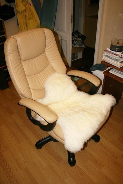 Шкура уже в качестве подстилки в кресло.