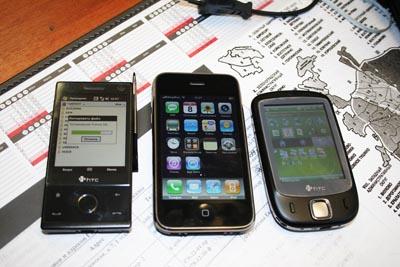 Для сравнения - HTC Diamond, iPhone 3G, HTC Touch