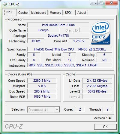 Окно CPU-Z